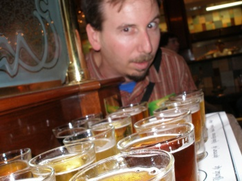 Bryce looks over the sampler
