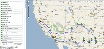 Google Route Map of New Mexico Trip