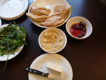 Feta (at bottom) as part of Mediterranean appetizer